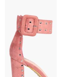 Boohoo - Pink Millie Stud Detail Block Heels - Lyst