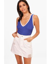 Boohoo - Blue Rib Plunge High Rise Contrast Piping Bodysuit - Lyst