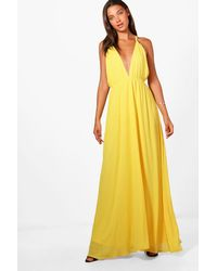 05df812bf2a6 Lyst - Boohoo Tall Plunge Strappy Woven Maxi Dress in Yellow