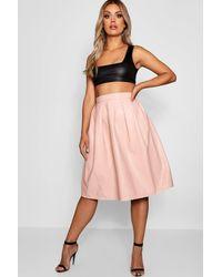 f8498d0a3b17ba Boohoo - Multicolor Plus Leather Look Box Pleat Midi Skirt - Lyst