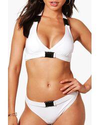 Boohoo - White Mallorca Buckle Detail High Leg Bikini - Lyst