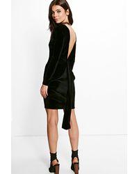 Boohoo - Black Ruth Velvet Open Back Drape Detail Bodycon Dress - Lyst