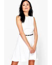 Boohoo - White Emily Belted Scuba Skater Dress - Lyst
