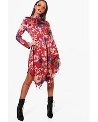 f8310d6d303b Lyst - Boohoo High Neck Long Sleeve Midi Dress in Red