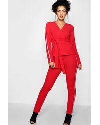 Boohoo - Red Sports Stripe Belted Trouser Co-ord Set - Lyst
