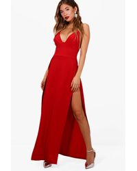 Boohoo | Red Ray Plunge Neck Super High Split Maxi Dress | Lyst