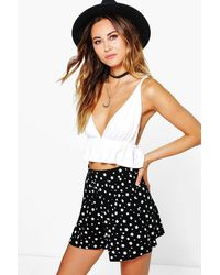 Boohoo - Black Star Print Flippy Shorts - Lyst