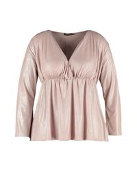 Boohoo - Pink Plus Metallic Shimmer Plunge Neck Top - Lyst