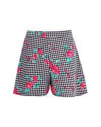 Boohoo Black Elyse Gingham Floral Shorts