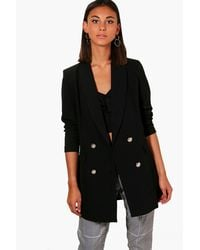 Boohoo   Black Abigail Premium Button Longline Blazer   Lyst