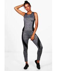 Boohoo | Black Mae Fit Contrast Panel Vest & Legging Set | Lyst
