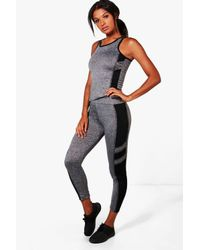 Boohoo | Black Hope Fit Contrast Panel Vest & Legging Set | Lyst