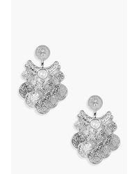 Boohoo | Metallic Amy Chandelier Coin Earrings | Lyst