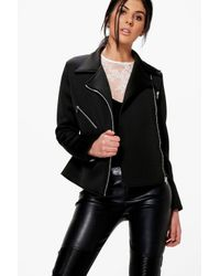 Boohoo | Black Evelyn Structured Biker Jacket | Lyst