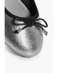 Boohoo Alicia Metallic Ribbon Detail Ballet Pumps