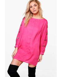 Boohoo Pink Amy Bow Trim Sleeve Top