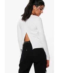 Boohoo | White April Rib Split Back Long Sleeve Crop Top | Lyst