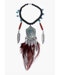 Boohoo - Black Willow Feather Statement Arm Cuff - Lyst