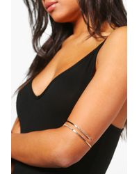 Boohoo | Metallic Keira Diamante Textured Arm Cuff | Lyst