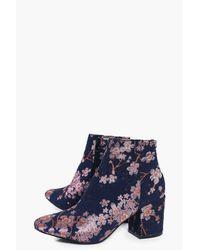 Boohoo - Blue Leila Denim Floral Block Heel Ankle Boot - Lyst