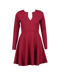 Boohoo - Red Rebecca Long Sleeve Skater Dress - Lyst