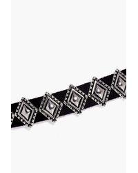 Boohoo - Black Isabelle Metal Diamond Detail Choker - Lyst