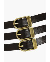 Boohoo - Black Eliza Corset Buckle Belt Detail Choker - Lyst