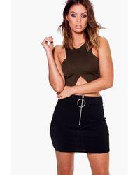Boohoo - Black Sophie Zip Detail Ribbed Mini Skirt - Lyst
