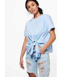 Boohoo - Blue Kayla Knot Tie Front Short Sleeve Woven Shirt - Lyst