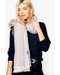 Boohoo | Pink Lucie Stripe Supersoft Blanket Scarf | Lyst