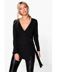 Boohoo | Black Evaline Eyelet Detail Wrap Front Long Sleeve Top | Lyst
