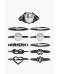 Boohoo | Black Lucy Pearl & Diamante Mixed Ring Pack | Lyst