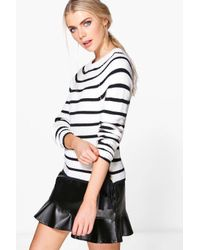 Boohoo - White Rosie Nautical Stripe Fisherman Jumper - Lyst