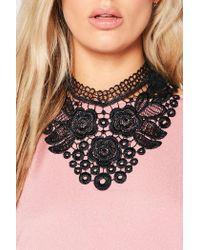 Boohoo - Black Julia Lace Oversized Collar Choker - Lyst