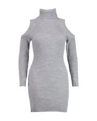 Boohoo Gray Jasmine Roll Neck Cold Shoulder Rib Knit Dress