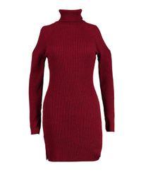 Boohoo Red Jasmine Roll Neck Cold Shoulder Rib Knit Dress