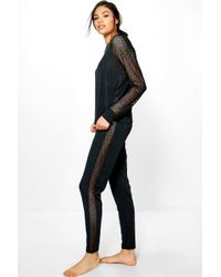 Boohoo - Black Kate Mesh Sleeve Melange Lounge Set - Lyst