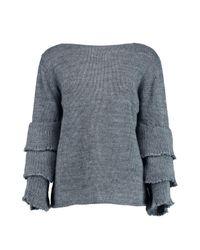 Boohoo | Gray Katherine Ruffle Sleeve Jumper | Lyst