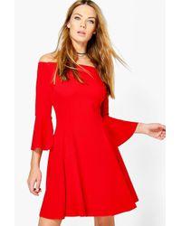Boohoo - Red Freyja Flare Sleeve Off Shoulder Shift Dress - Lyst