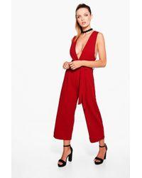 Boohoo Red Andria Deep Plunge Wrap Belt Culotte Jumpsuit
