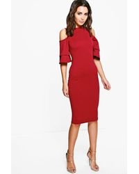 Boohoo - Red Leah Cold Shoulder Flute Sleeve Midi Dress - Lyst
