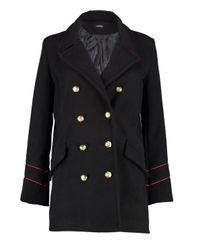 Boohoo Black Serena Button Detail Military Coat