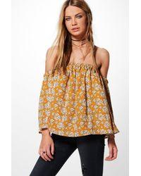 Boohoo | Multicolor Frankie Floral Bardot Top | Lyst