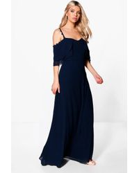Boohoo - Blue Boutique Cicely Chiffon Frill Maxi Dress - Lyst