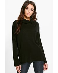 Boohoo | Black Kate Roll Neck Jumper | Lyst