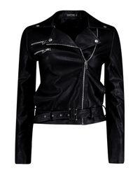 Boohoo - Black Scarlett Belted Biker Jacket - Lyst