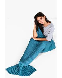 Boohoo - Blue Brooke Knitted Mermaid Tail Blanket - Lyst