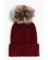 Boohoo | Red Laura Rib Knit Faux Fur Pom Beanie Hat | Lyst
