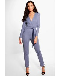 Boohoo | Blue Holly Belted Jumpsuit | Lyst