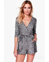 Boohoo Multicolor Claire Animal Print Wrap Belted Playsuit